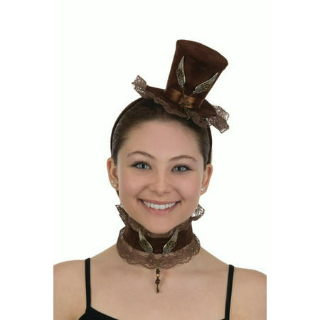 Womens Velvet Mini Steampunk Top Hat Headband With Choker Costume Accessory - Naked Steampunk Women