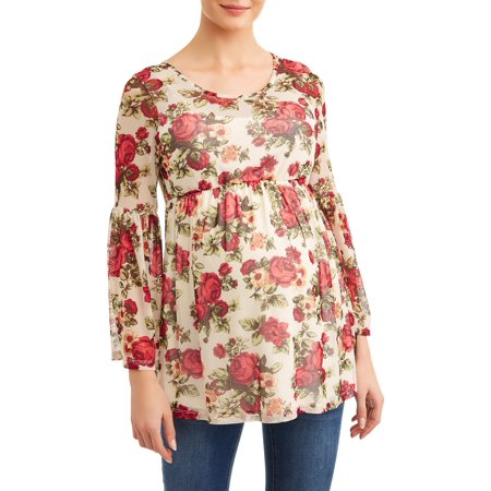 Empire Waist Short Sleeve Top - Maternity Floral Bell Sleeve Knit Top with Empire Waist