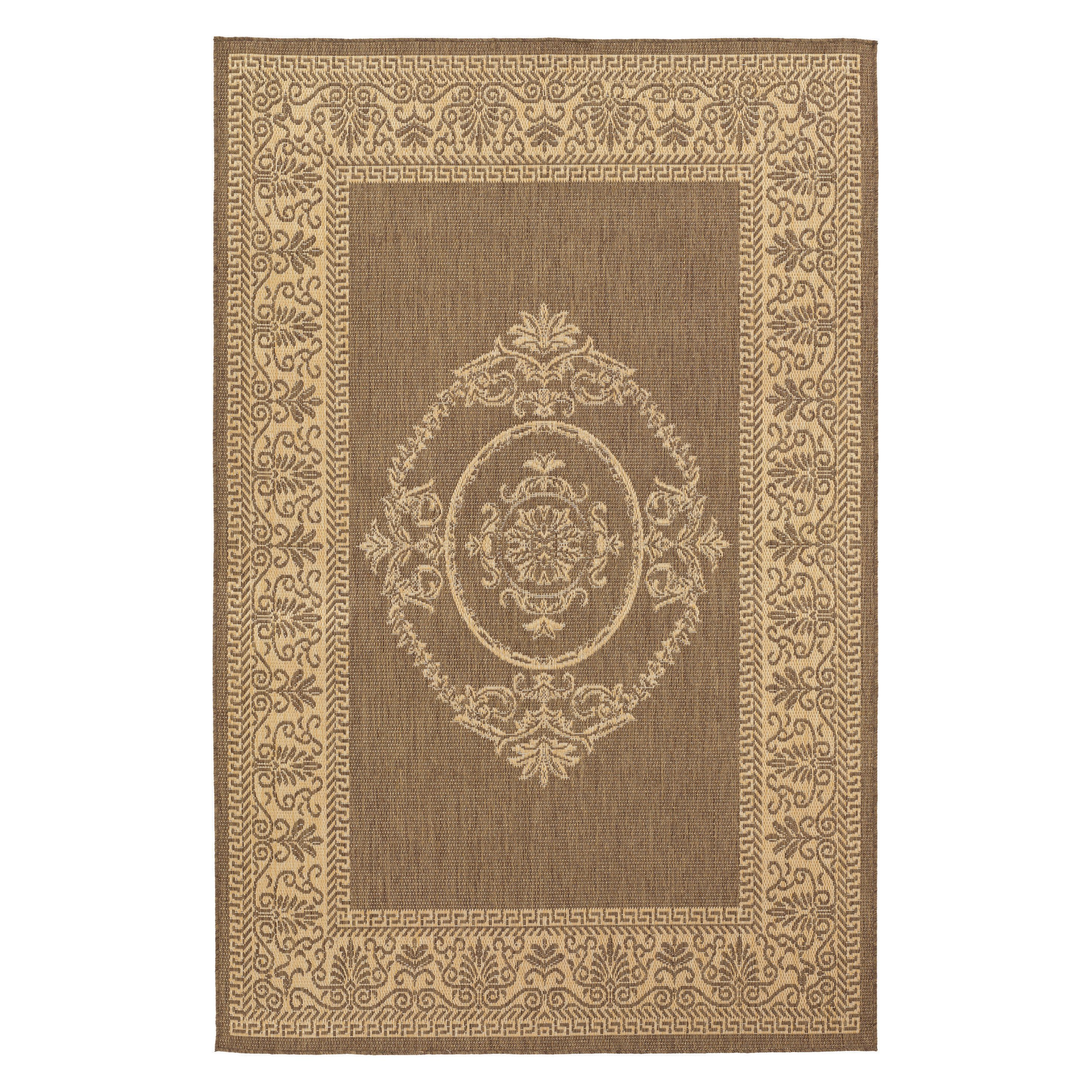 Couristan Recife Antique Medallion Natural/Cocoa Area Rug