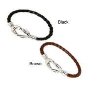 NEXTE Jewelry Nexte Black or Brown Silvertone Knot-lock Leather Bracelet Black