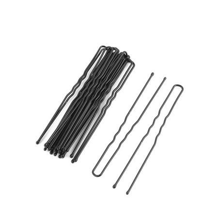 Women Metal U Shape Hairstyle Hair Clip Hairpin Black 7cm Length 18