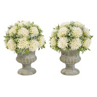 Pure Garden Faux Foliage – Tall Plastic Greenery Arrangement with Glitter and Decorative Urns (Set of 2) 9.5""