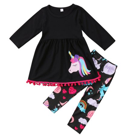 2Pcs Toddler Girls Kids Rainbow Horse Long Sleeve Tops Dress Pants Outfits Clothes Pyjama Set Pjs (Girls Sleepwear)