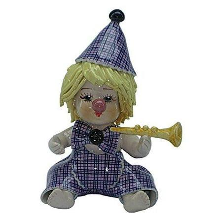 (D) Glazed Porcelain Figurine Clown 4 5-inch (Trumpet)