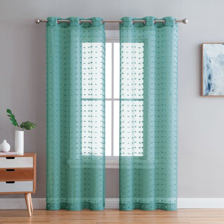 Better Homes & Gardens Clipped Pom Pom Window Curtain Panel, Set of Two ()