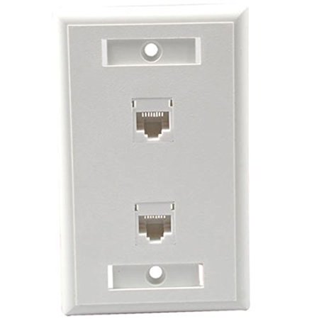 C2G/Cables To Go 27416 Two Port Cat5E RJ45 Configured Single Gang Wall Plate - White - image 1 of 1