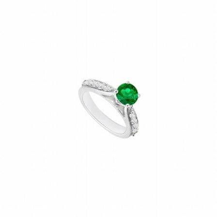 14K White Gold Emerald & Diamond Engagement Ring - 0.80 CT TGW , 12 Stones