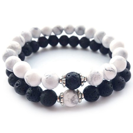 KABOER 2Pcs/Set Volcanic Rock Lava Couples Distance Bracelet Classic Natural Stone White And Black Yin Yang Beaded Bracelets Bangles Classic Mlb Bracelet