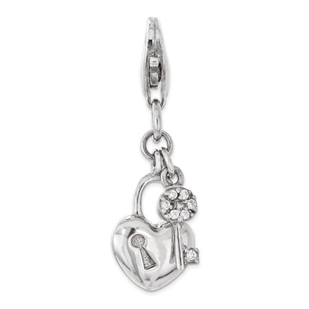 925 Sterling Silver Rh Cubic Zirconia Cz Lock Key Heart Lobster Clasp Pendant Charm Necklace Love With Gifts For Women For Her](Lock And Key Jewelry For Couples)
