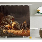Western Decor Shower Curtain Set, A Rock Mountain Scene Landscape With A Cowboy Riding Horse North America Style Folk Print, Bathroom Accessories, 69W X 70L Inches, By Ambesonne