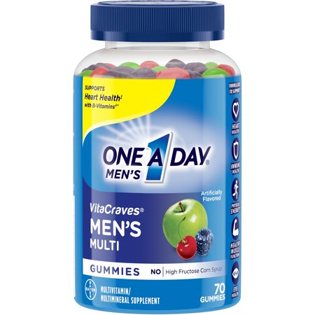One A Day Men's VitaCraves Multivitamin Gummies, Supplement with Vitamins A, C, E, B6, B12, and Vitamin D, 70 (International White Male Day)