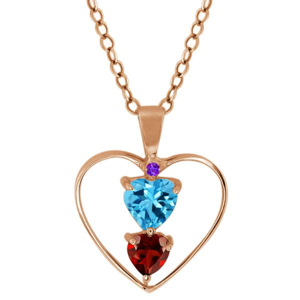 0.89 Ct Heart Shape Swiss Blue Topaz Red Garnet Gold Plated Silver Pendant