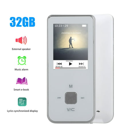 TSV MP3 Player, FM Radio Voice Recorder Supporting MP3 AMV, 180mAh Battery(6-8h playing time, TF Card Not included), Black/White