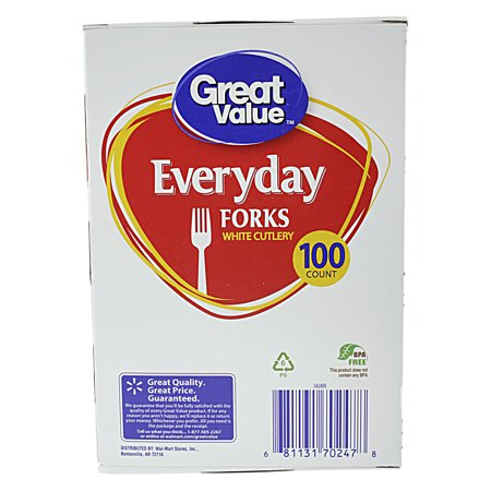 Great Value White Forks, 100 ct for $<!---->