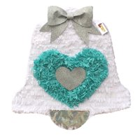"White & Teal Wedding Bell Pinata 19"" Tall Pull Strings Style Bridal Shower Decor"