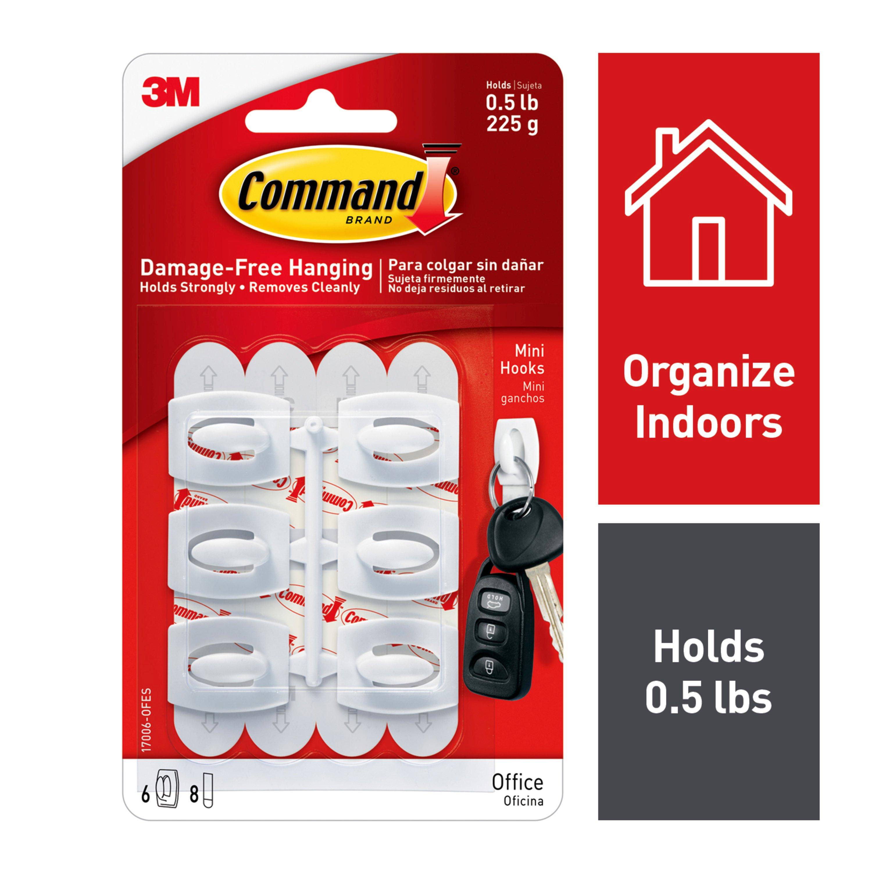 Command Mini Hooks, White, 6 Hooks, 8 Strips/Pack