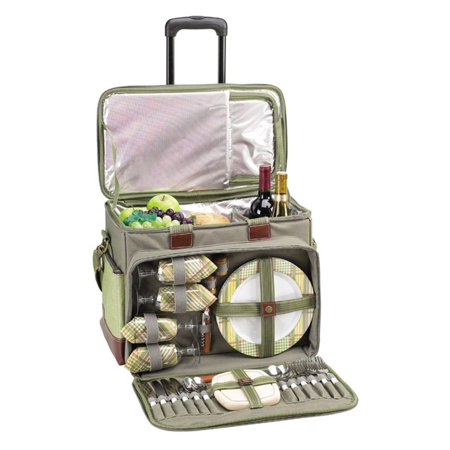 Picnic at Ascot Deluxe Wheeled Picnic Cooler for 4