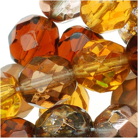 Czech Fire Polished Glass Beads 8mm Round 'Wheatberry Brown Amber Mix' (50)