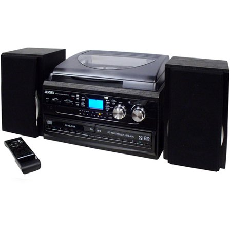 Jensen JTA-980 3-Speed Turntable 2-CD System with Cassette and AM FM Stereo Radio by