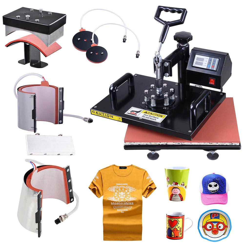 "Yescom 6-in-1 12""x15"" Heat Press Machine Digital Transfer Sublimation T-Shirt Mug Hat Plate Pressure-adjustment knob"