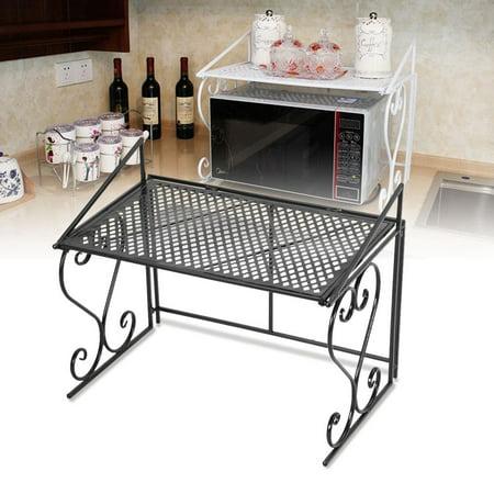 Anauto Microwave Oven Shelf, Microwave Oven Storage Rack, Black Iron Fashionable Folding Microwave Oven Rack Stand Kitchen Shelf Organizer
