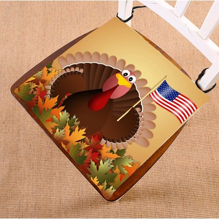 PHFZK Autumn Leaves Chair Pad, Happy Thanksgiving Day Turkey Seat Cushion Chair Cushion Floor Cushion Two Sides Size 16x16 inches (Happy Seat)