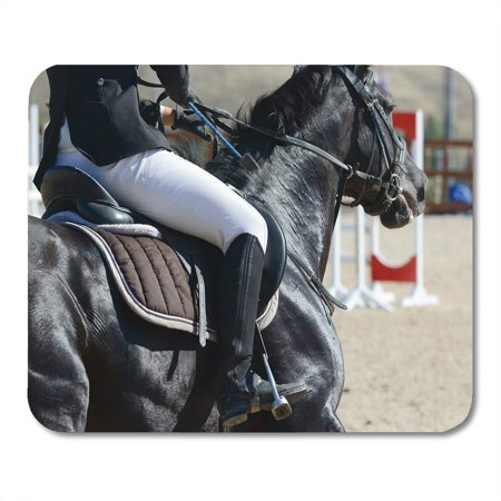 SIDONKU Saddle Black Sport Horse on Gallop Show Jumping Mousepad Mouse Pad Mouse Mat 9x10 inch