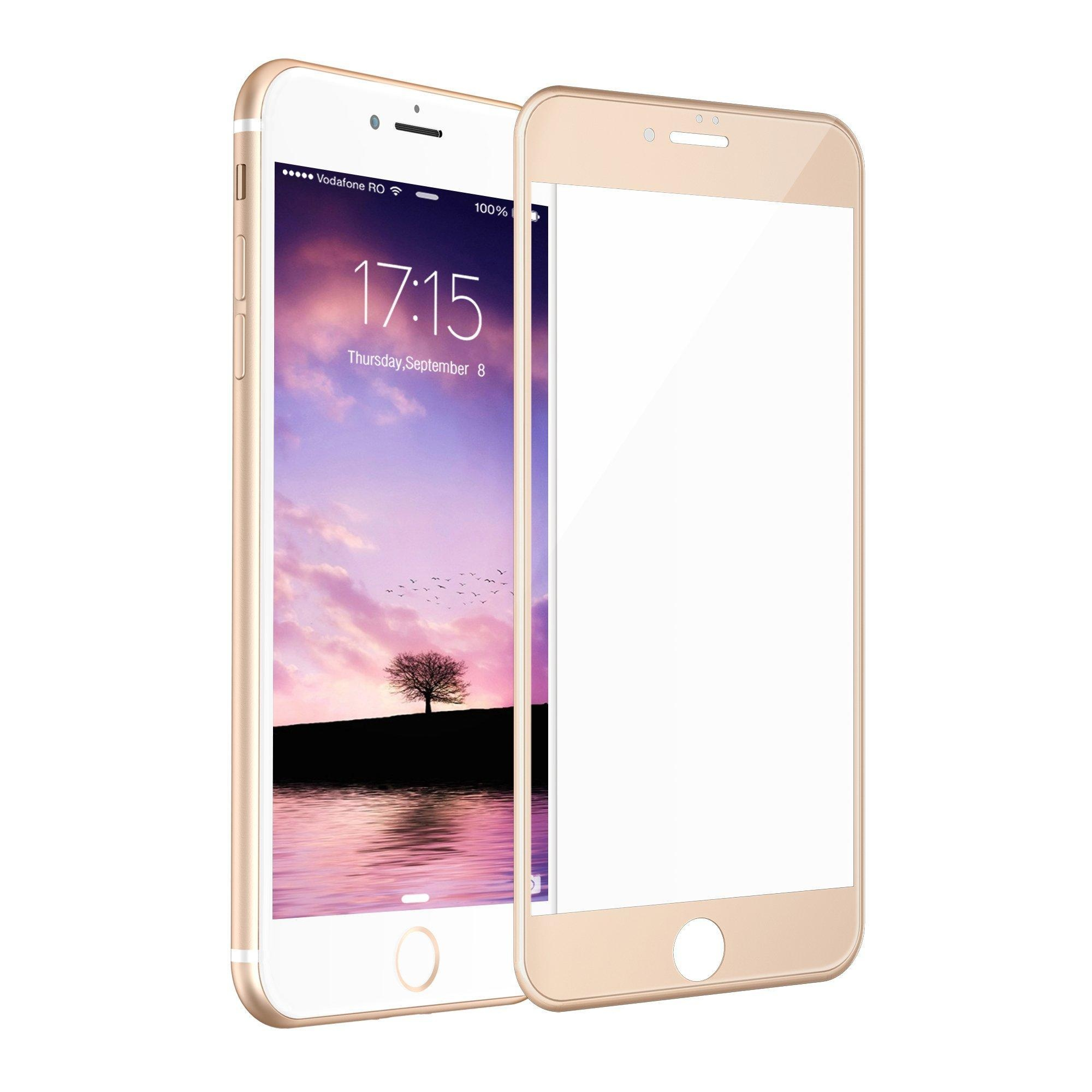 the latest 56648 19b0b Full Coverage Gold Tempered Glass Screen Protectector for iPhone 7