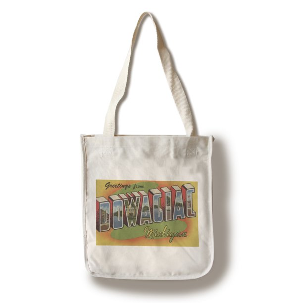 Dowagiac, Michigan - Large Letter Scenes (100% Cotton Tote Bag - Reusable)