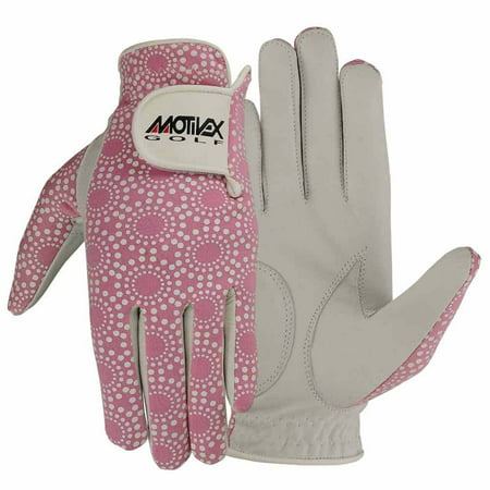 Hot Pink Gloves (Women Golf Gloves Soft Fit Cabretta Leather Lycra Back Pink Ladies Glove Left Hand)