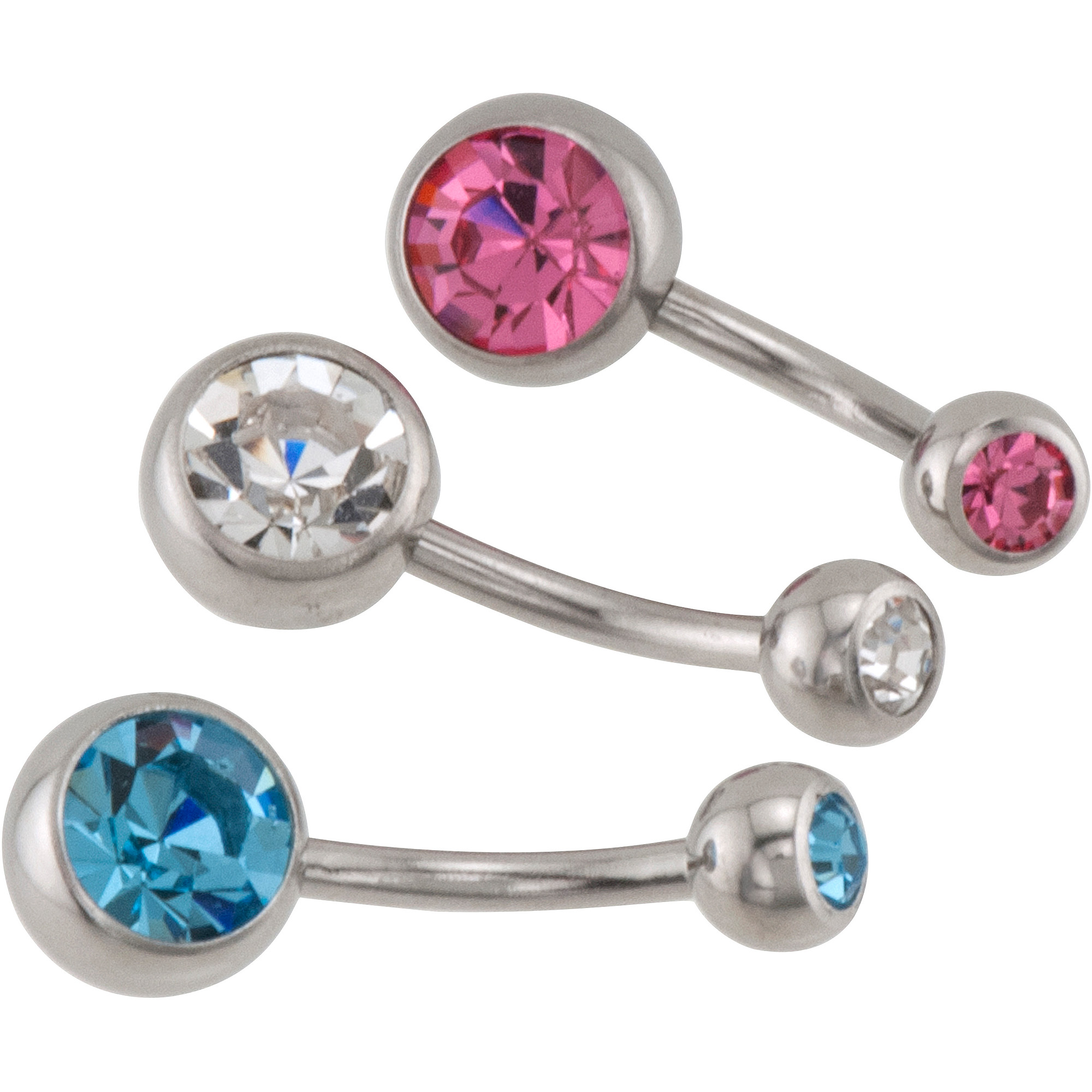 14-Gauge Crystal Belly Rings, 3pk
