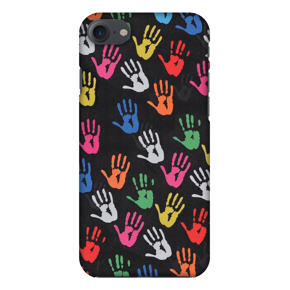iPhone 8 Case - Colour Palms, Hard Plastic Back Cover. Slim Profile Cute Printed Designer Snap on Case with Screen Cleaning Kit