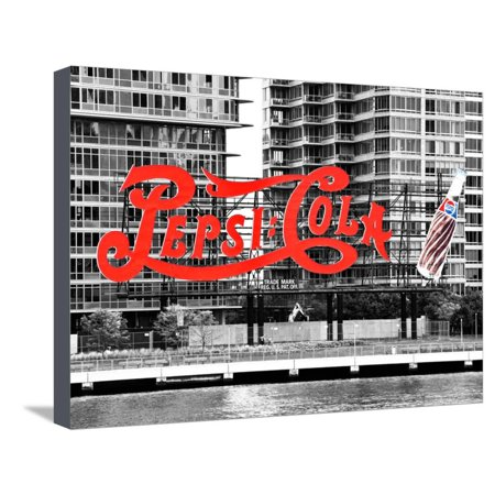 Pepsi Cola Bottling Sign, Long Island City, New York, United States, Black and White Photography Stretched Canvas Print Wall Art By Philippe - Party City Long Island City