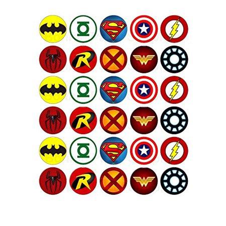 30 x Superhero Logos Edible Cupcake Toppers - Superhero Girl Cake