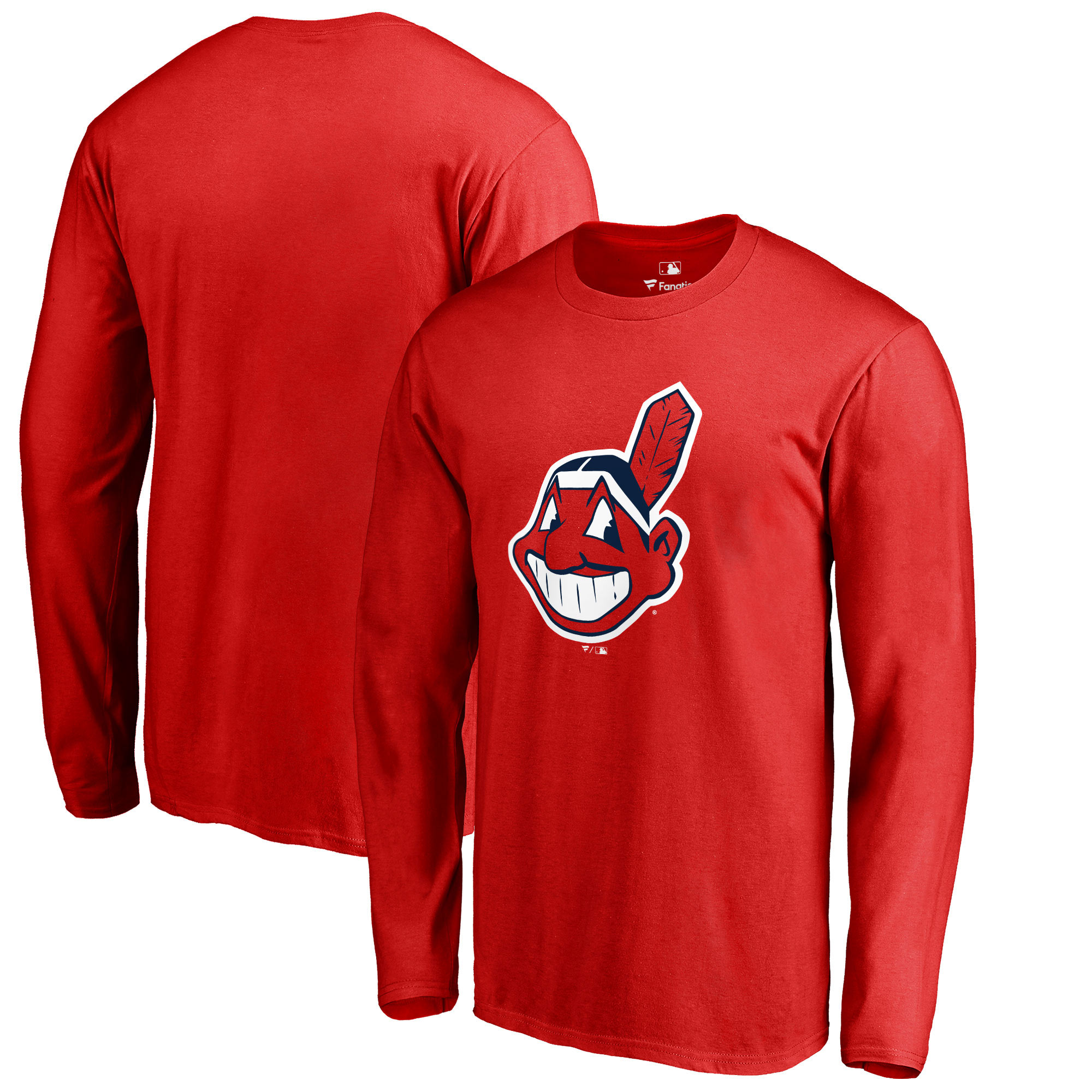 Cleveland Indians Fanatics Branded Primary Logo Long Sleeve T-Shirt - Red