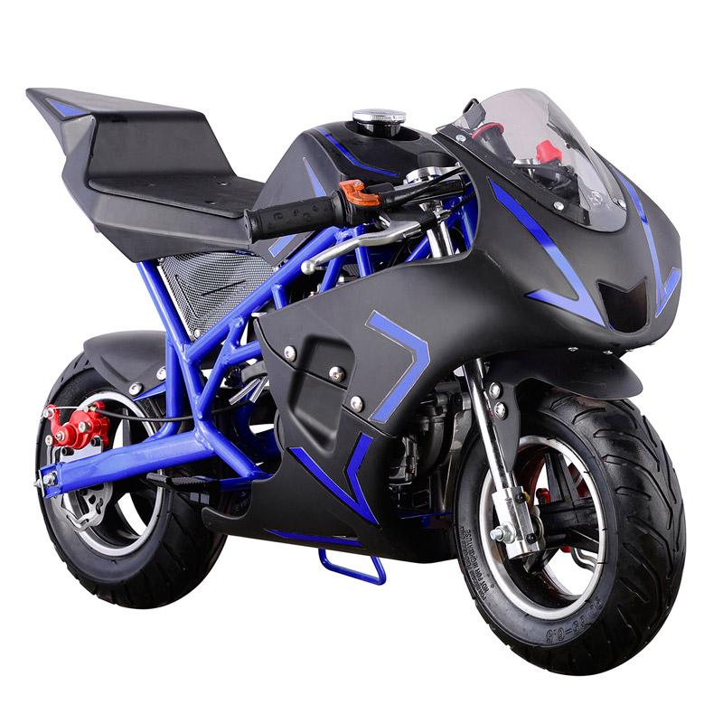 Pocket Bike Mini Motorcycle 4 Stroke Gas Power (Blue) by Go Bowen Inc
