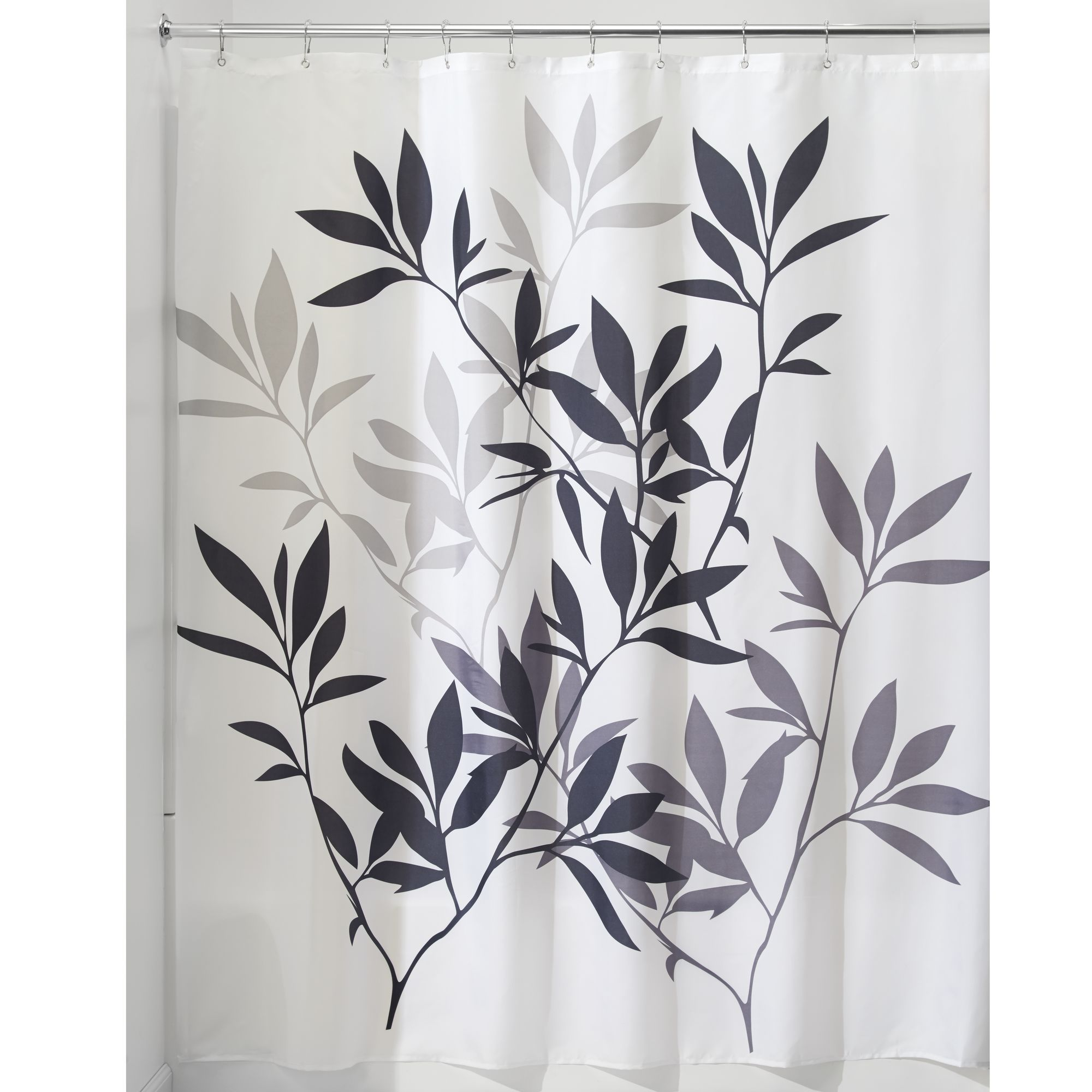 "InterDesign Leaves Fabric Shower Curtain, Standard 72"" x 72"", Purple"