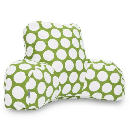 Majestic Home Goods Indoor Hot Green Large Polka Dot Reading Pillow with Arms Backrest Back Support for Sitting 33 in L x 6 in W x 18 in - Overstuffed Pillow Top Arms