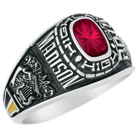 Keepsake Personalized Women's Square Class Ring available in Valadium Metals, Silver Plus, and Yellow and White Gold