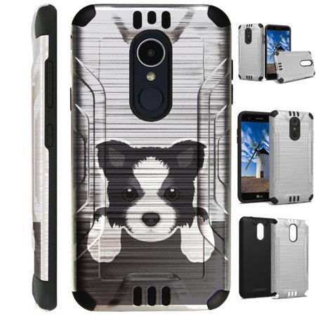 For LG Xpression Plus (2018)  Case Brushed Metal Texture Hybrid TPU Metallic Guard Phone Cover (Cute Dog Border (Best Dog Brush For Border Collie)