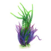 Unique Bargains Aquarium Fish Tank Plastic Artificial Grass Plant Decor Green Purple 13  Height