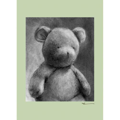 Oopsy Daisy - Charcoal Teddy - Sage Border Canvas Wall Art 10x14, Margot Curran