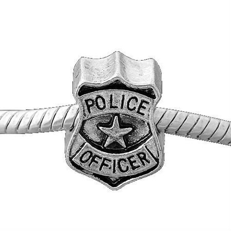 Police Badge Charm Bead. Compatible With Most Pandora Style Charm Bracelets. - Beaded Charm Bracelets