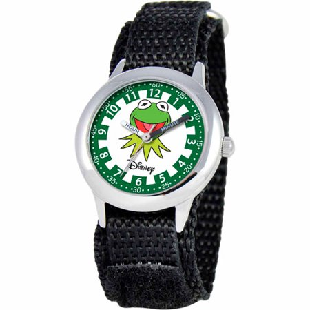 Disney The Muppets Kermit Boys' Stainless Steel Watch, Black Strap