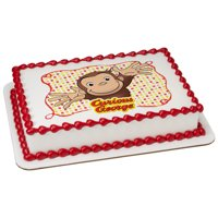 Curious George Let's Celebrate 1/4 Sheet Image Cake Topper Edible Birthday Party