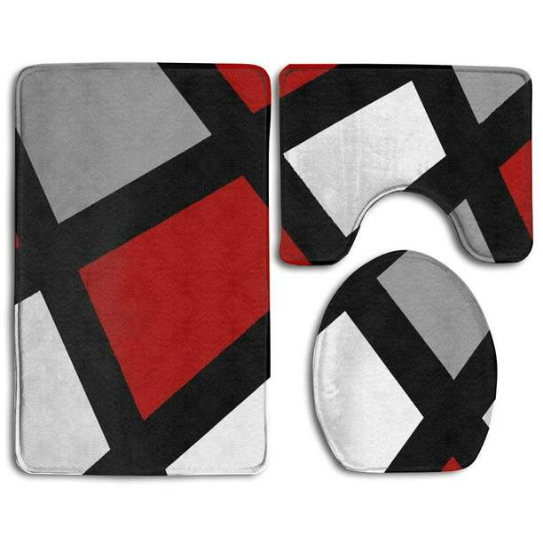 Gohao Red Gray Black White Geometric 3 Piece Bathroom Rugs Set Bath Rug Contour Mat And Toilet Lid Cover Walmart Com Walmart Com