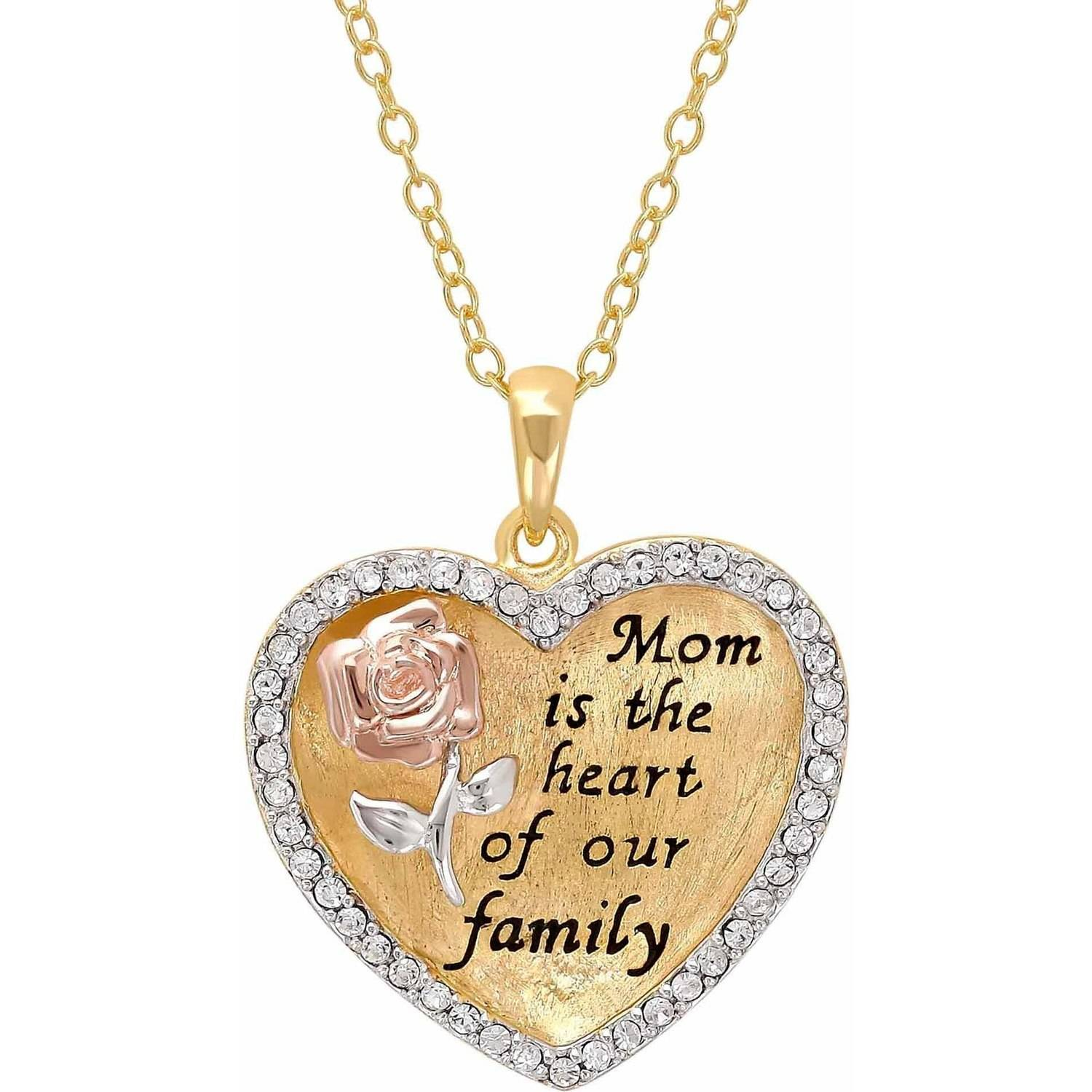 """Sterling Silver and 18K Gold Plate Crystal Border """"Mom Is The Heart Of Our Family"""" Heart Pendant, 18"""