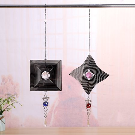 3D Reflective Metal Hanging Wind Spinner Wind Chime Garden Decor with Crystal Ball Electric Operated Motor ()