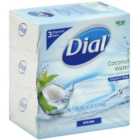Dial Glycerin Soap Bars Coconut Water & Bamboo Leaf Extract, 4 oz bars, 3 ea (Pack of 2)