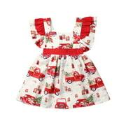 Toddler Kids Baby Girl Christmas Dress Ruffle Sleeve Big Bowknot Xmas Car Party Tutu Dresses Clothes